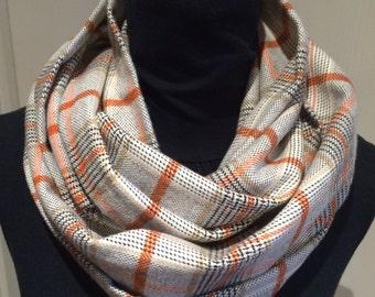 Brown plaid infinity scarf, warm scarf, winter scarf