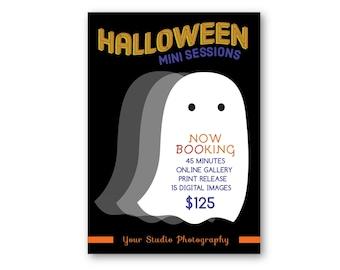 Customizable Digital Halloween Mini Session Marketing Board - Photo Session Facebook Ad  PSD PSE Photoshop Template for Photographers HM1000