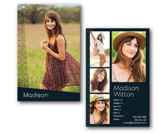 Customizable digital model comp card zed card geometric for Free model comp card template psd