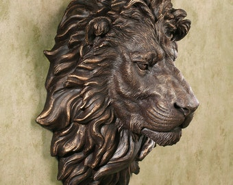 "African lion wall Sculpture plaque 17"" www.Neo-Mfg.com Grand size"