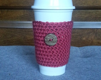Crochet Travel Mug Sleeve in Autumn Orange