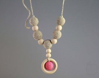 Crochet Linen Nursing Necklace Crochet Teething Necklace Breatstfeeding jewelry Shower gift