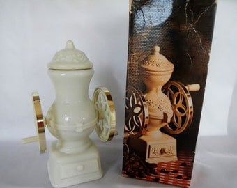 Vintage Avon Country Store Coffee Mill - Moonwind Cologne Bottle - ivory milk glass, gold plastic - decanter, collectible, box, home decor