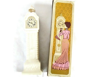 Vintage Avon Fragrance Hours - Field Flowers Cologne Bottle - cream, ivory, gold, glass, plastic lid -grandfather clock,decanter,collectible