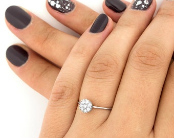 Sterling Silver 925 Round ring delicate tiny Micro Pave clear CZ Round STACKABLE RING band (R-18)