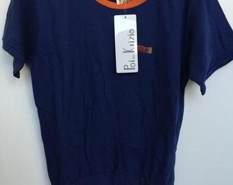 Vintage Krizia Poi T shirt top Cat Blue Orange NEW w tags size 42 IT M