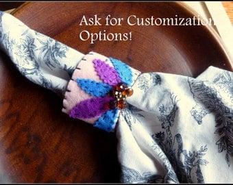 Bejeweled Napkin Rings - Embroidered Felt napkin rings - Napkin Rings - Set of 4 - Blue and Pink napkin rings