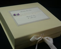 Personalised Wedding Keepsake Box, Memory box, Ivory Decorated With Lace, Pearls and Delicate Roses