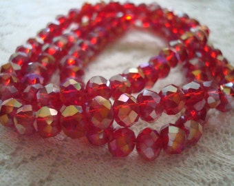 4x6mm Beautiful Dark Ruby Red Rondelles with Aurora Borealis Rainbow Shimmer. 99pc  Full 17.5inch Strand.  Only USPS Ship Rates