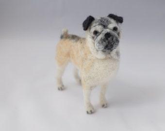 Needle Felt Dog Portrait. Small. Custom pet portrait of your dog