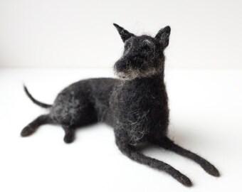 Needle Felt Dog Portrait. Large. Custom pet portrait of your dog