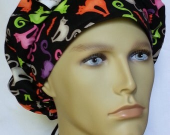 bats cats halloween surgical scrub hat theatre cap banded bouffant
