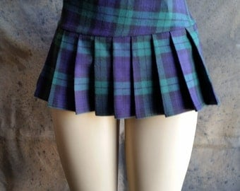 Micro Mini Green, Tartan, Stewart, School Girl Plaid Pleated Skirt (OPENS / CLOSES with hook and loop fasteners strip)