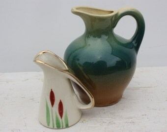 Two miniature pitchers - Mc Coy ? and Cattail Design - Collectible Pottery Miniatures