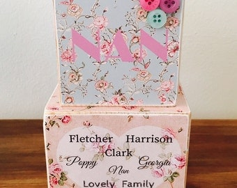 Photo Blocks. Two tier blocks personalised with photos, names, quotes. Perfect gift for any occasion. Wedding, Christening, Birthday
