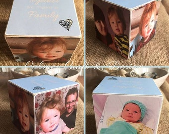 Photo Blocks.  Single block personalised with photos, names, quotes. Perfect gift for any occasion. Wedding, Christening, Birthday