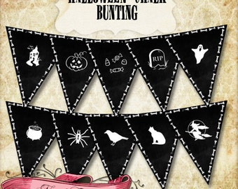 Halloween Chalk Bunting, Halloween Character Banner, Printable Banner, 10 Designs, INSTANT DOWNLOAD!