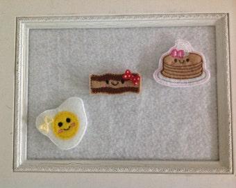 Pancake Feltie, Egg Feltie,Bacon Feltie Breakfast Felties Always Precut