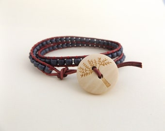 Leather wrap bracelet - Autumn colours - Perfect gift