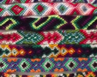 50 Peruvian Wool Friendship Bracelets. Handmade
