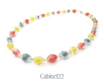 Vintage tutti-frutti glass bead necklace, multi-coloured 1930s necklace, birthday gift for mum, sister, girlfriend  ~ Cabinet22