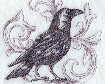 Crow Kitchen Towel - Baroque Black Crow kitchen tea towel - Halloween crow towel - Crow kitchen - Halloween decor