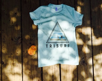 Ladies Original TRISURF T-shirt in Light Blue and Classic White