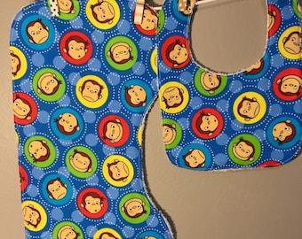 Curious George Baby Gift Bib, Burp Cloth Set