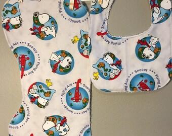 Snoopy Baby Gift Set Bib, Burp Cloth