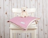 Baby Blanket (Liberty Art Print Blanket – Pink Pepper) - Pink and Cream Minky Baby Blanket - The perfect new baby girl gift!