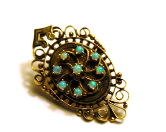 Antique Victorian 14K Opal Brooch Pendant