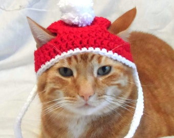 Crochet Cat Hat, Christmas Santa Hat for Cats, Cat Christmas Costume, Novelty Hats for Cats.