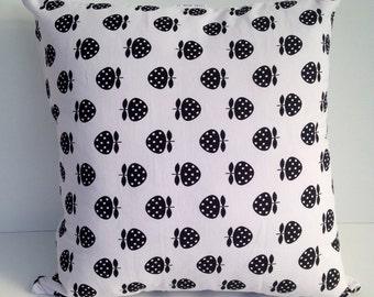 "18"" black strawberry cushion covers"