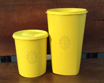 TUPPERWARE Servalier Yellow Canisters