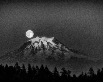 Landscape Photography, Mount Rainier, Moon Rise, Summer, Pacific Northwest, Black and White Fine Art Photography, Wall Art, Home Decor