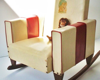 Vintage Child's Vinyl Rocker / Sturdy Little Relic from the 1940's / Authentic Early Vinyl