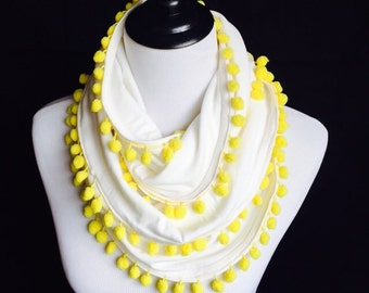 Infinity scarf, white circle scarf with contrast yellow pompom trim