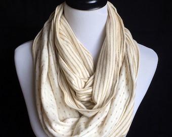 Beige/ golden knit infinity scarf. Elegant chic circle scarf.