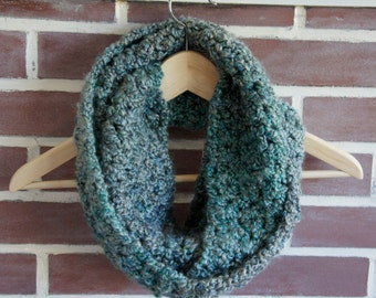 Scarf infinity, blue, green, gray, multi-color