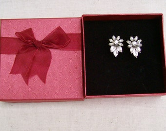 Vintage Krementz Silvertone Crystal Flower and Leaf Screw Back Earrings