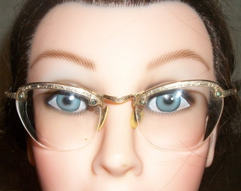 Antique 1/10 of 12K Soft Gold Etched WIRE Rim Frame CAT EYE Glasses Rock A Billy Steampunk 5.
