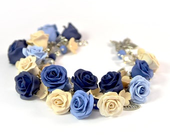 Floral cha cha charm bracelet - Polymer clay jewelry - Blue Ivory Rose Floral bracelet