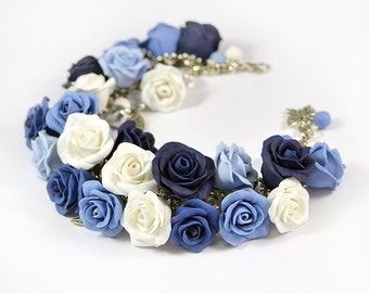 Blue rose cha cha charm Bracelet - Polymer clay jewelry - Great gift -  Rose bracelet - handmade floral bracelet -White Blue