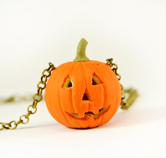 ready to ship pumpkin pendant glows in the