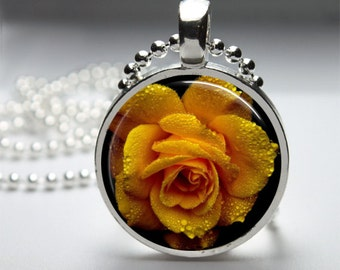 Beautiful Round Round Glass Cabochon Blooming Yellow Rose Pendant V1