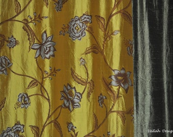 Made to order Luxurious Drapery in Gold and Olive green silk Dupioni fabric Floral printed wholesale Indian curtains Indian Draperies