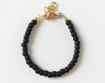 Matte Onyx Black Stacking Bracelet