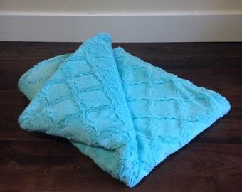 Minky Throw Blanket- Aruba Blue Lattis, Large Minky Baby Blanket