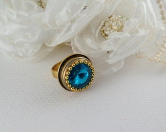 blue brass ring blue gold ring round ring shiny ring blue jewelry adjustable ring gift for her under 20 dollars