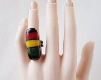 Rasta Adjustable Ring, Fused Glass Statement Ring, Reggae Lover Ring, Alternative Jewelry, Rastafarian Style Jewelry, Big Bold Ring